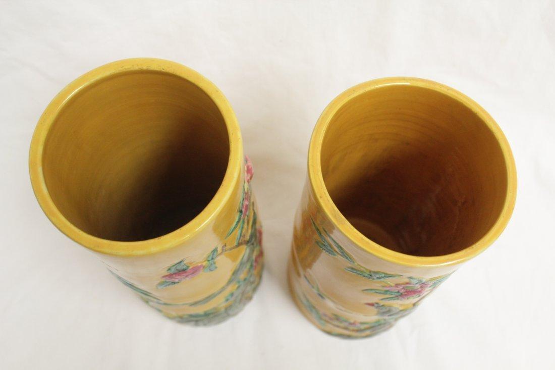 Pair Chinese porcelain hat vases - 5