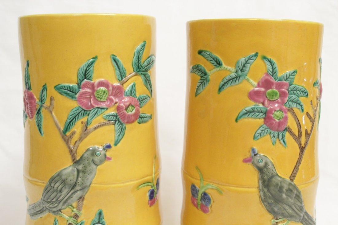 Pair Chinese porcelain hat vases - 6