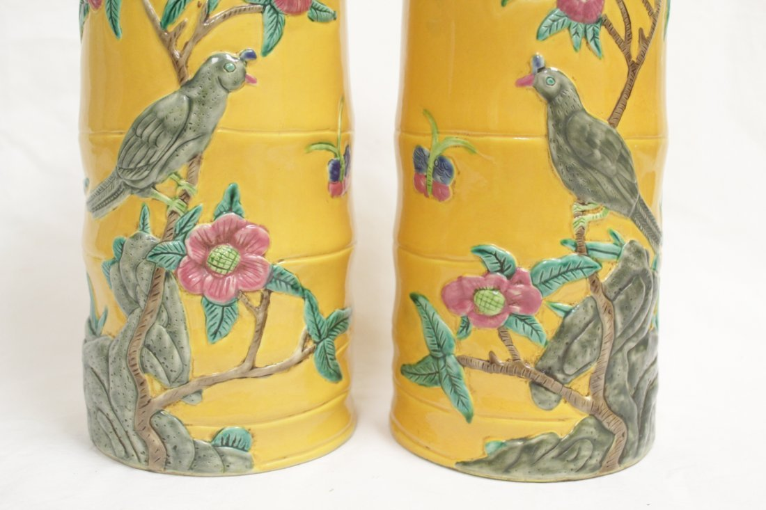 Pair Chinese porcelain hat vases - 7