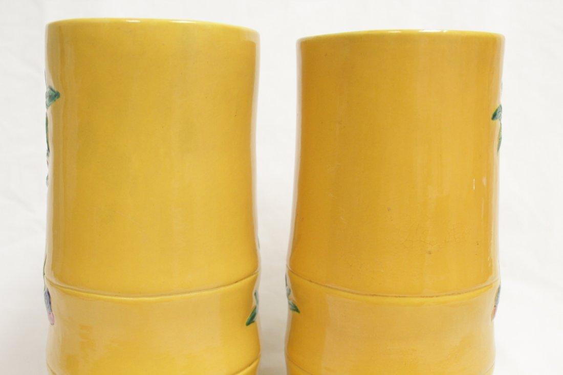 Pair Chinese porcelain hat vases - 8