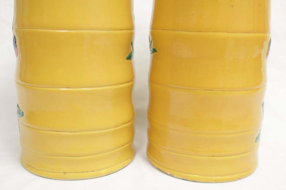 Pair Chinese porcelain hat vases - 9