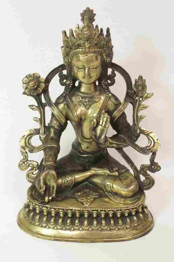 Chinese brass sculpture of seated Buddha