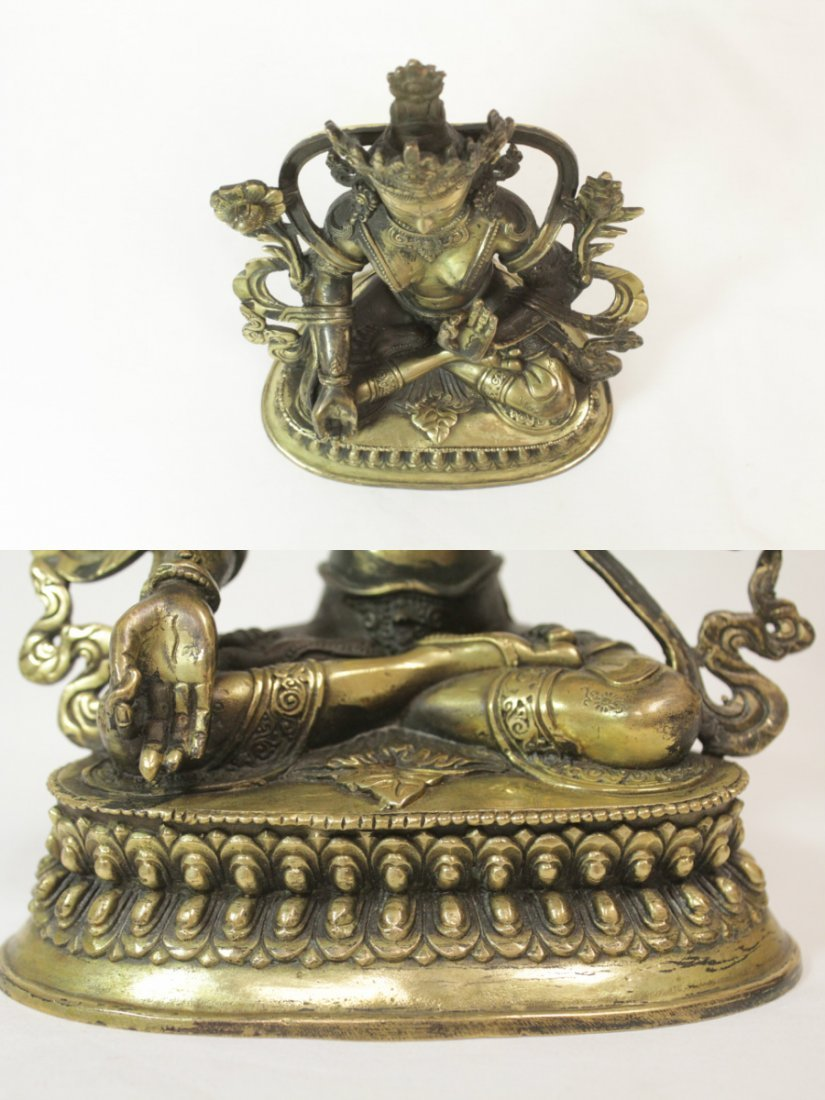 Chinese brass sculpture of seated Buddha - 5