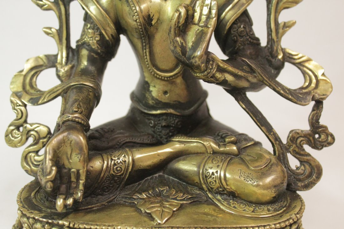 Chinese brass sculpture of seated Buddha - 7