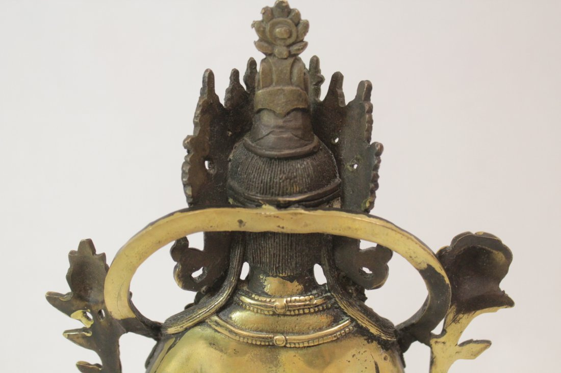 Chinese brass sculpture of seated Buddha - 8