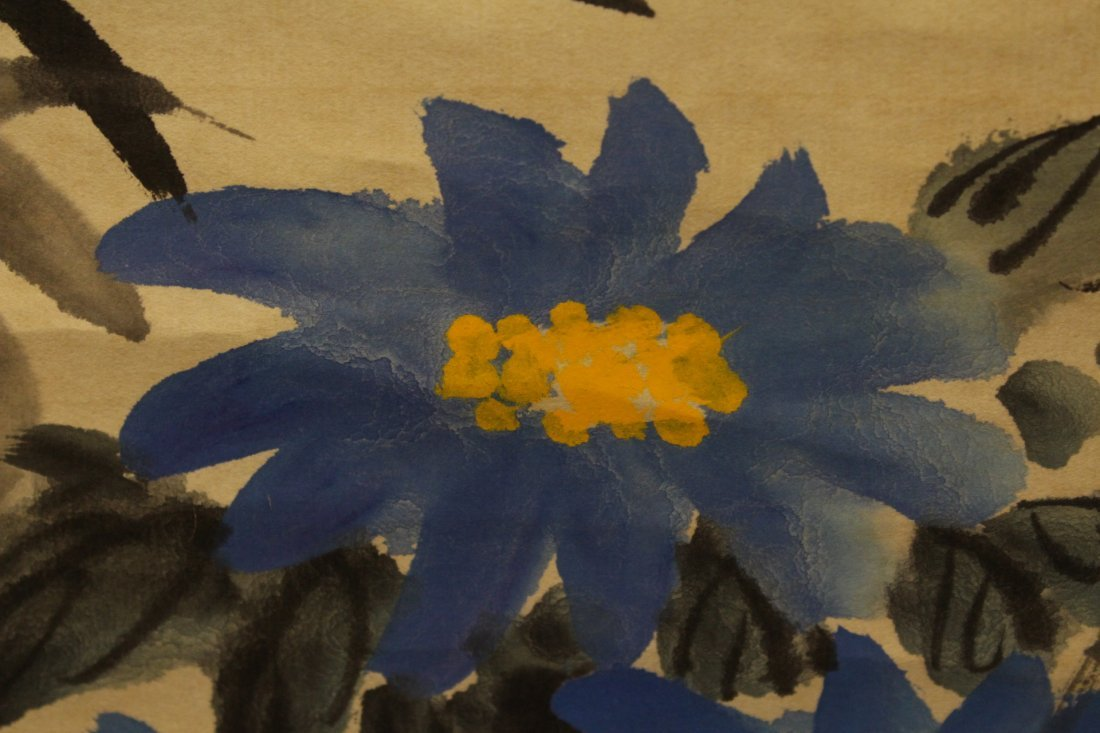 """Chinese watercolor scroll """"flowers"""" - 10"""