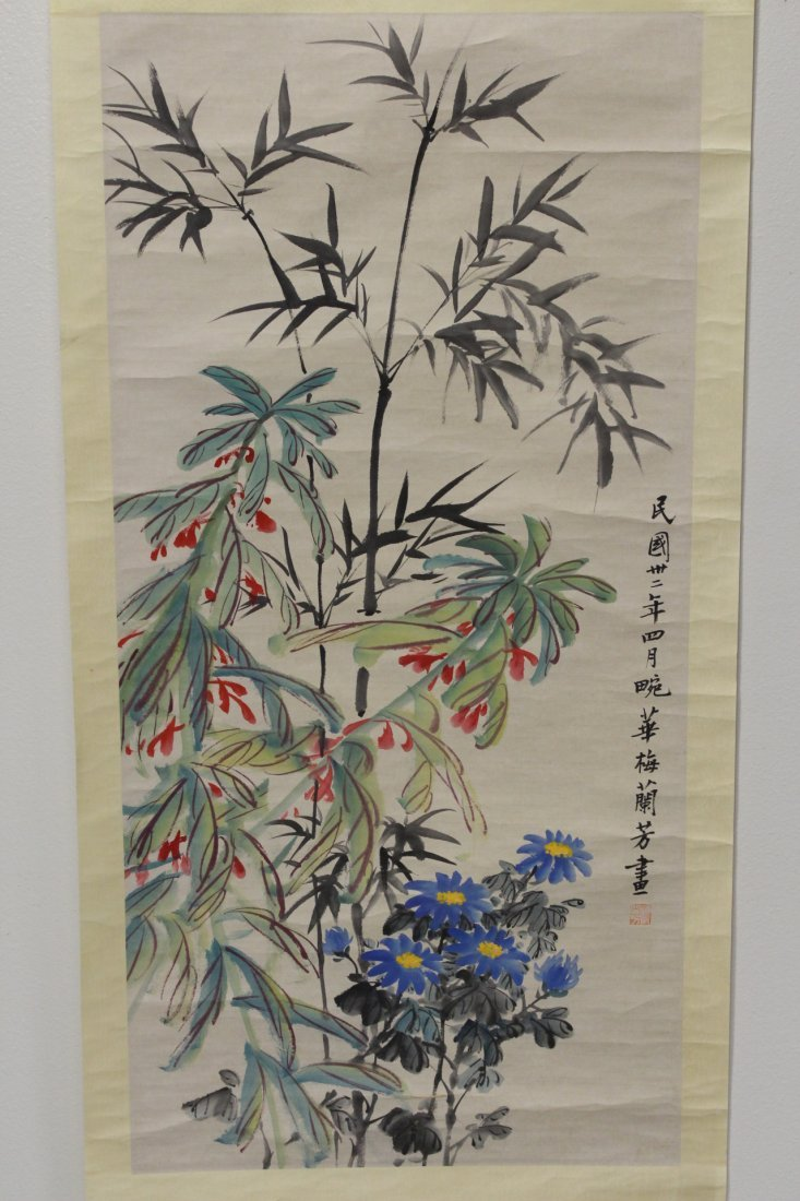 """Chinese watercolor scroll """"flowers"""""""