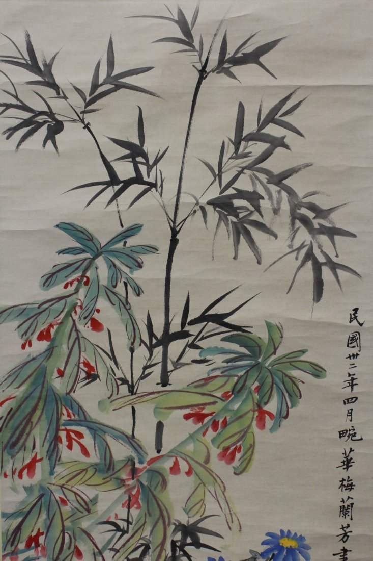 """Chinese watercolor scroll """"flowers"""" - 3"""