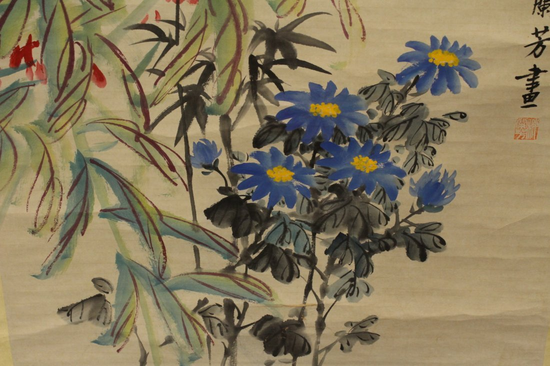 "Chinese watercolor scroll ""flowers"" - 4"
