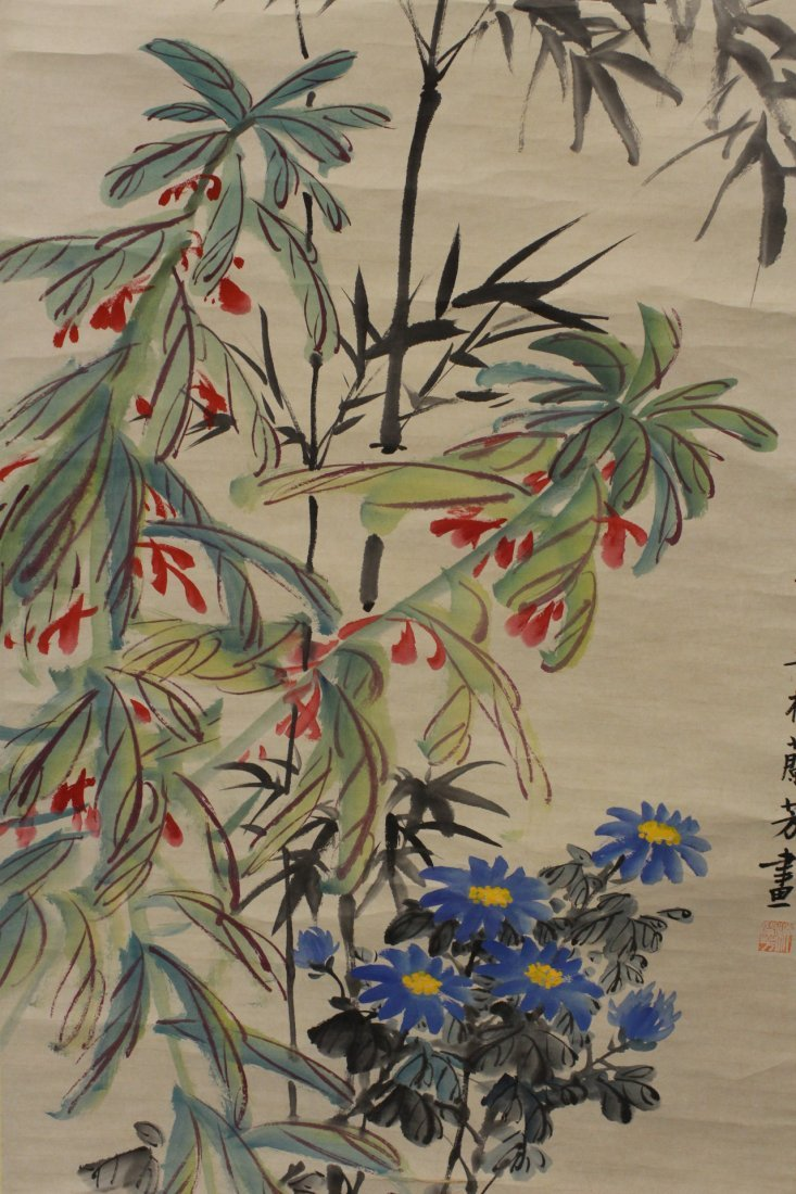 """Chinese watercolor scroll """"flowers"""" - 6"""