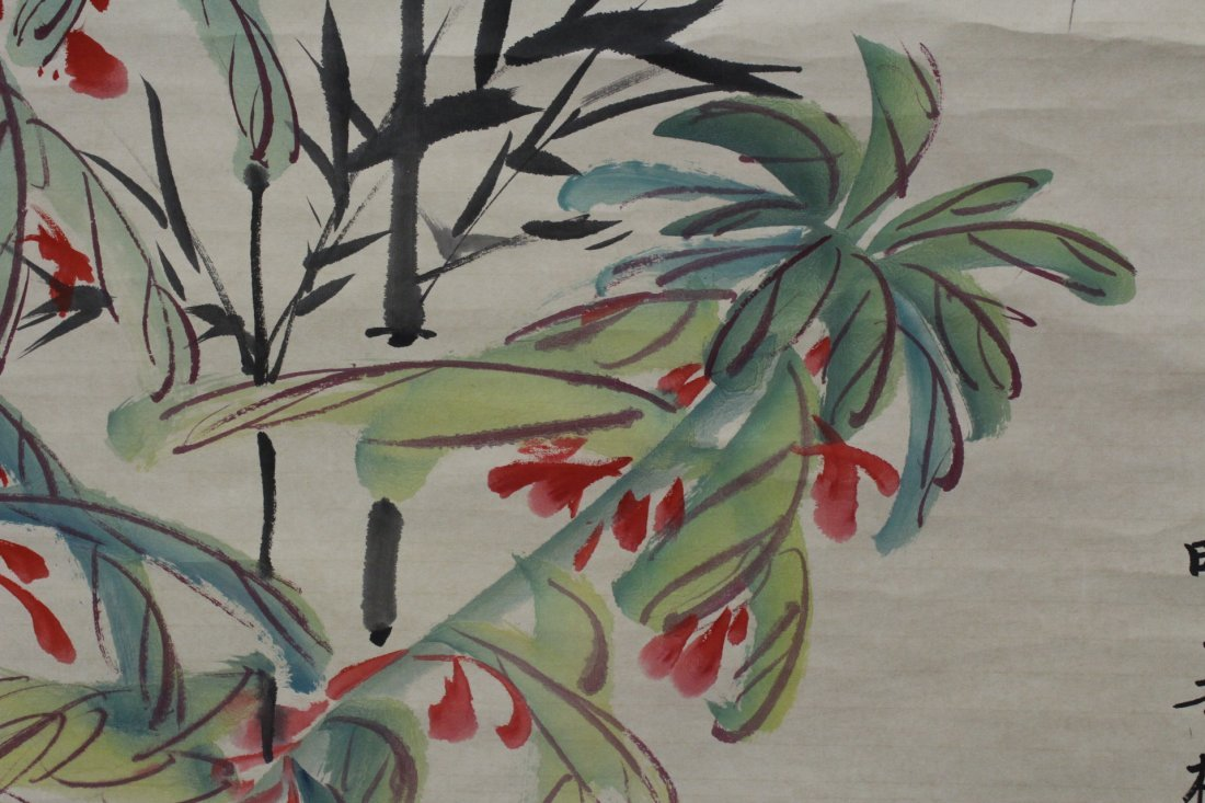 """Chinese watercolor scroll """"flowers"""" - 8"""