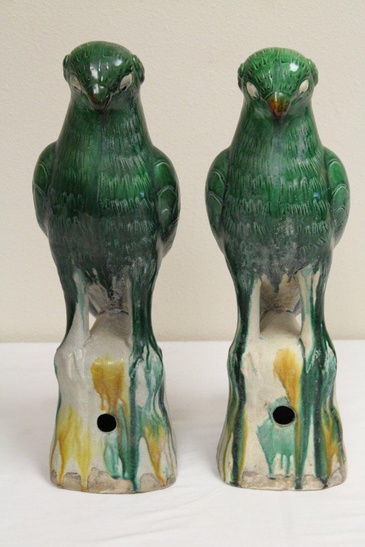 Pair Chinese sancai porcelain parrots