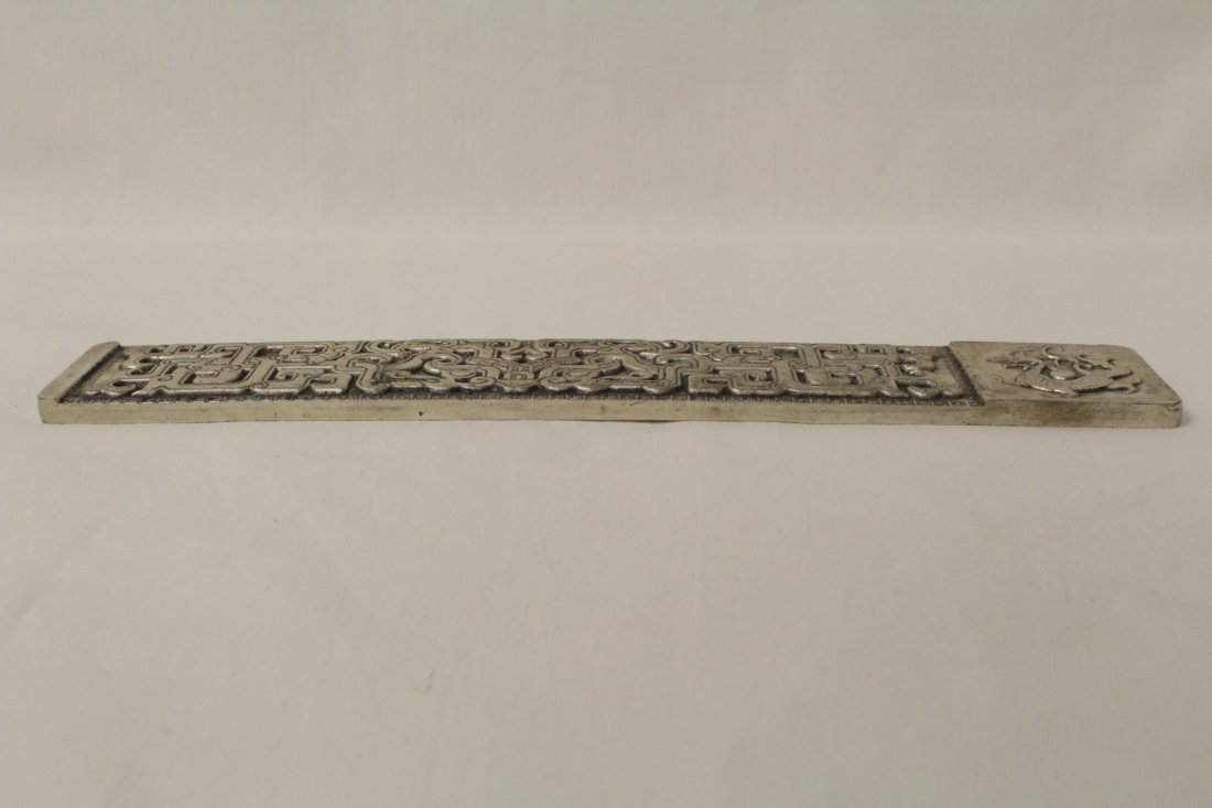 Chinese silver on bronze scroll weight - 10