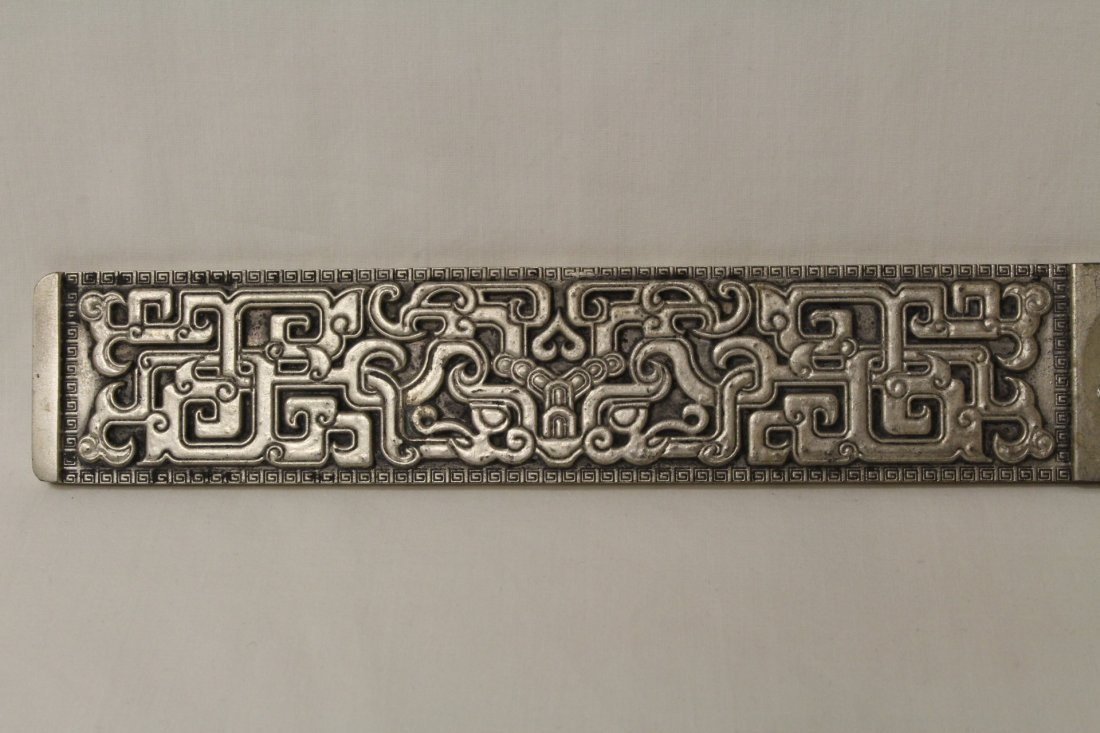Chinese silver on bronze scroll weight - 2