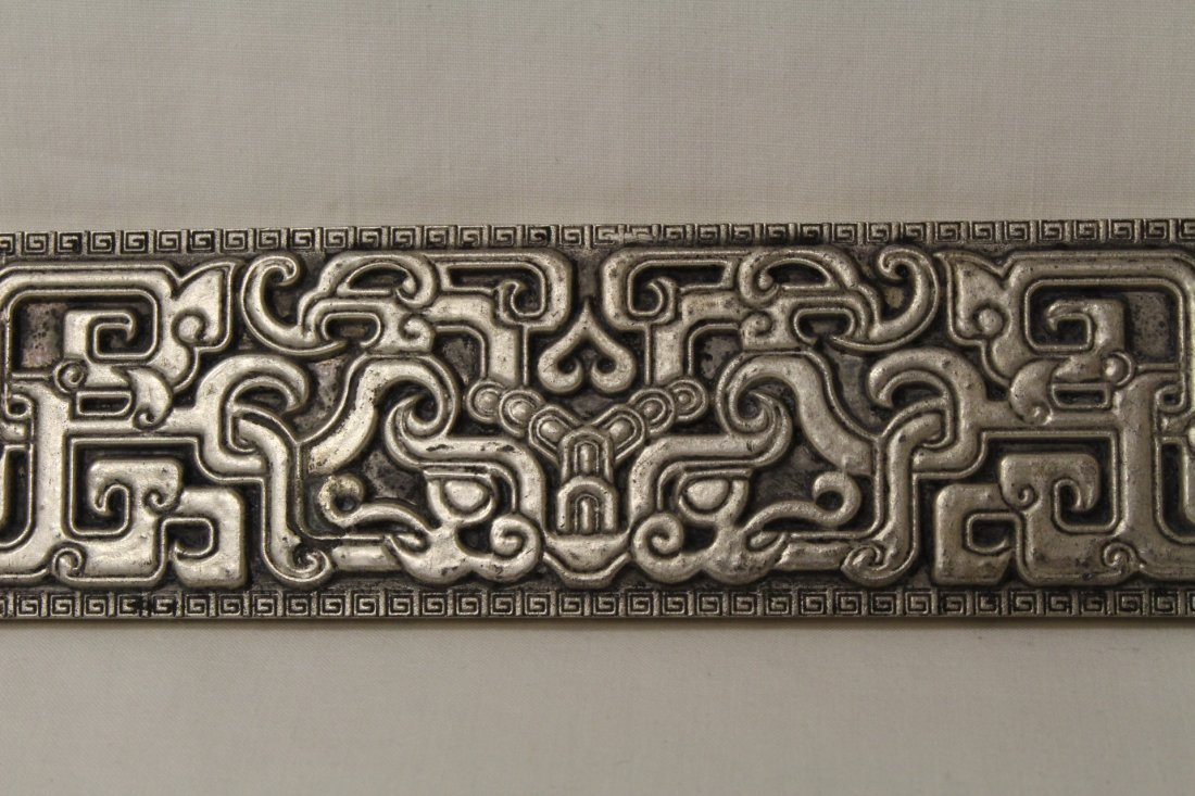 Chinese silver on bronze scroll weight - 3