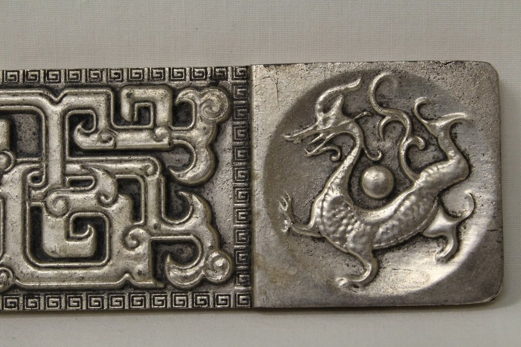 Chinese silver on bronze scroll weight - 4