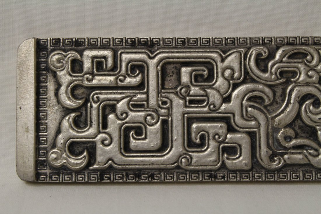 Chinese silver on bronze scroll weight - 5
