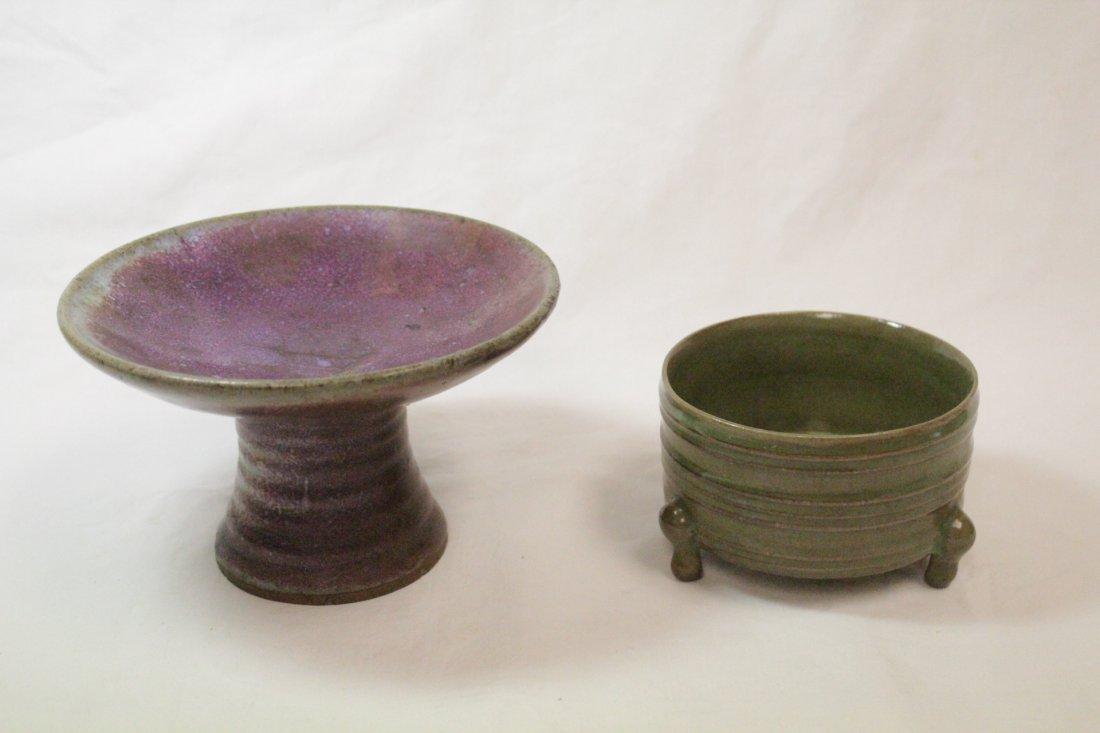 Song style porcelain stem bowl & a celadon cender