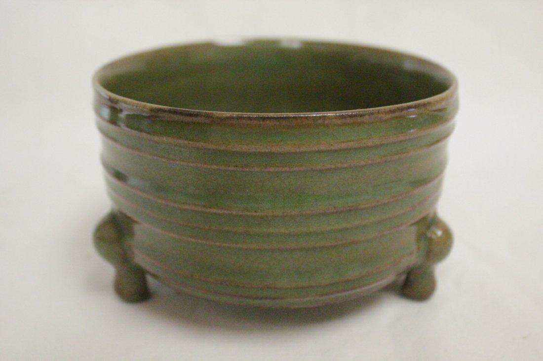 Song style porcelain stem bowl & a celadon cender - 7
