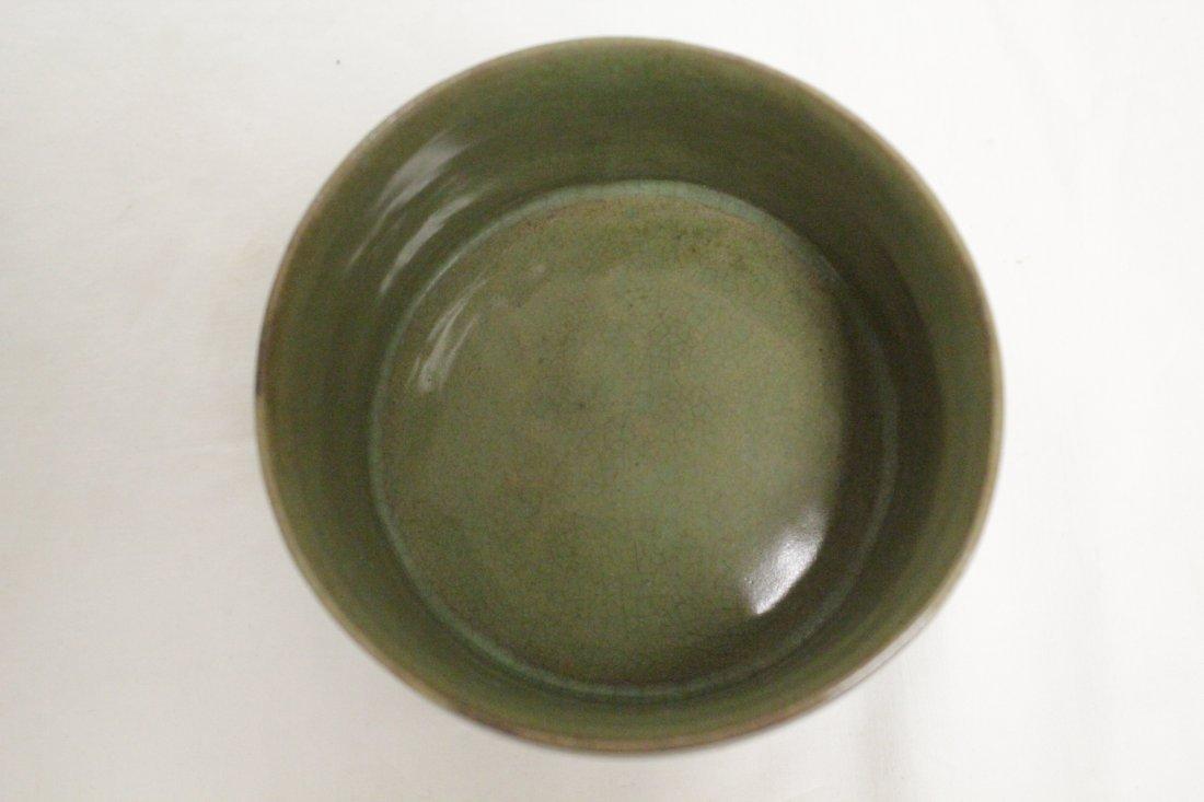 Song style porcelain stem bowl & a celadon cender - 8