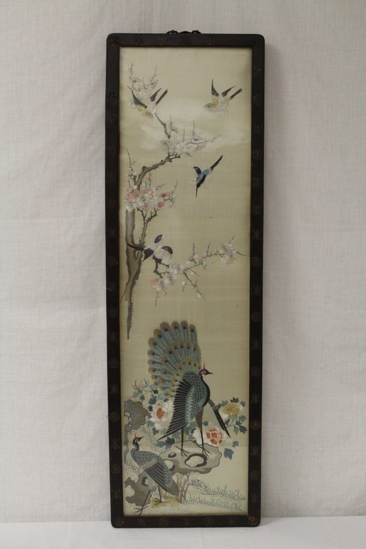 Chinese antique framed embroidery panel