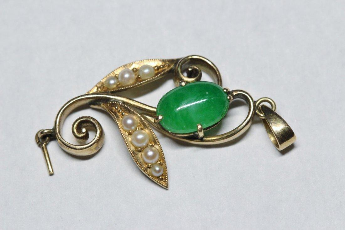 14K Y/G antique rose gold jadeite pendant