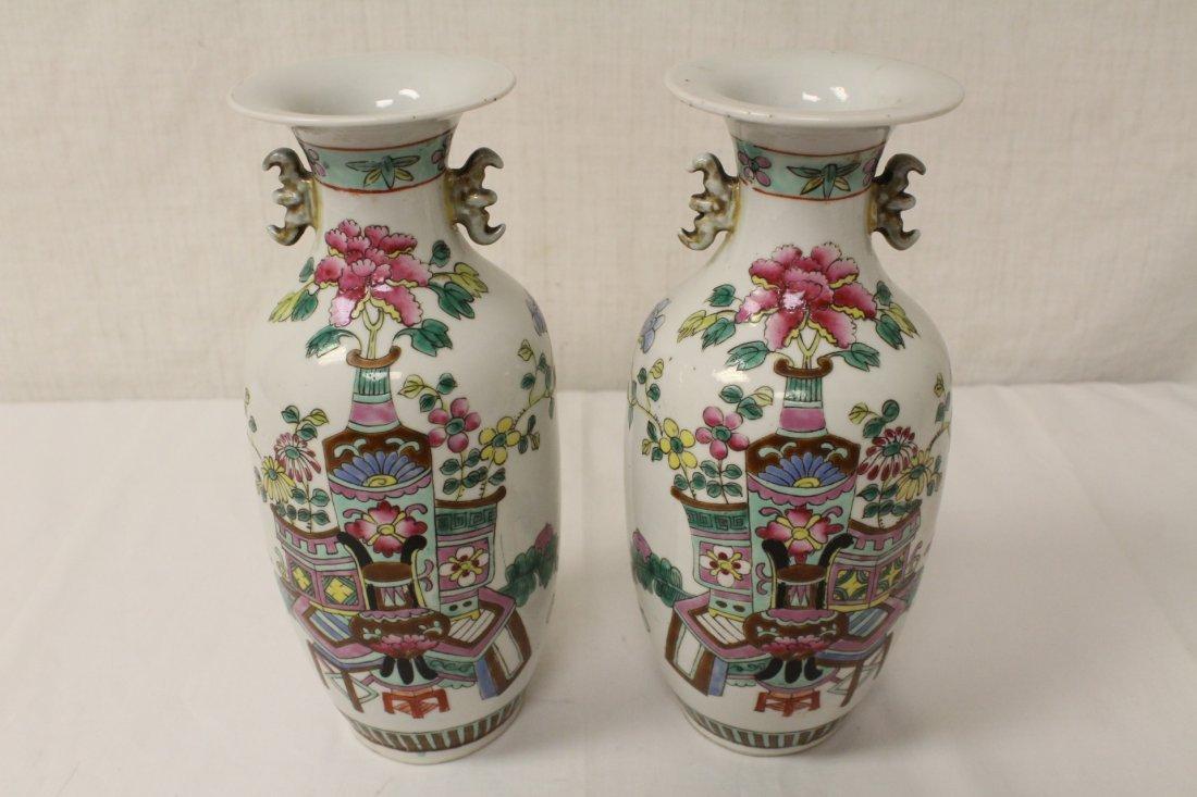2 Chinese antique famille rose porcelain vases