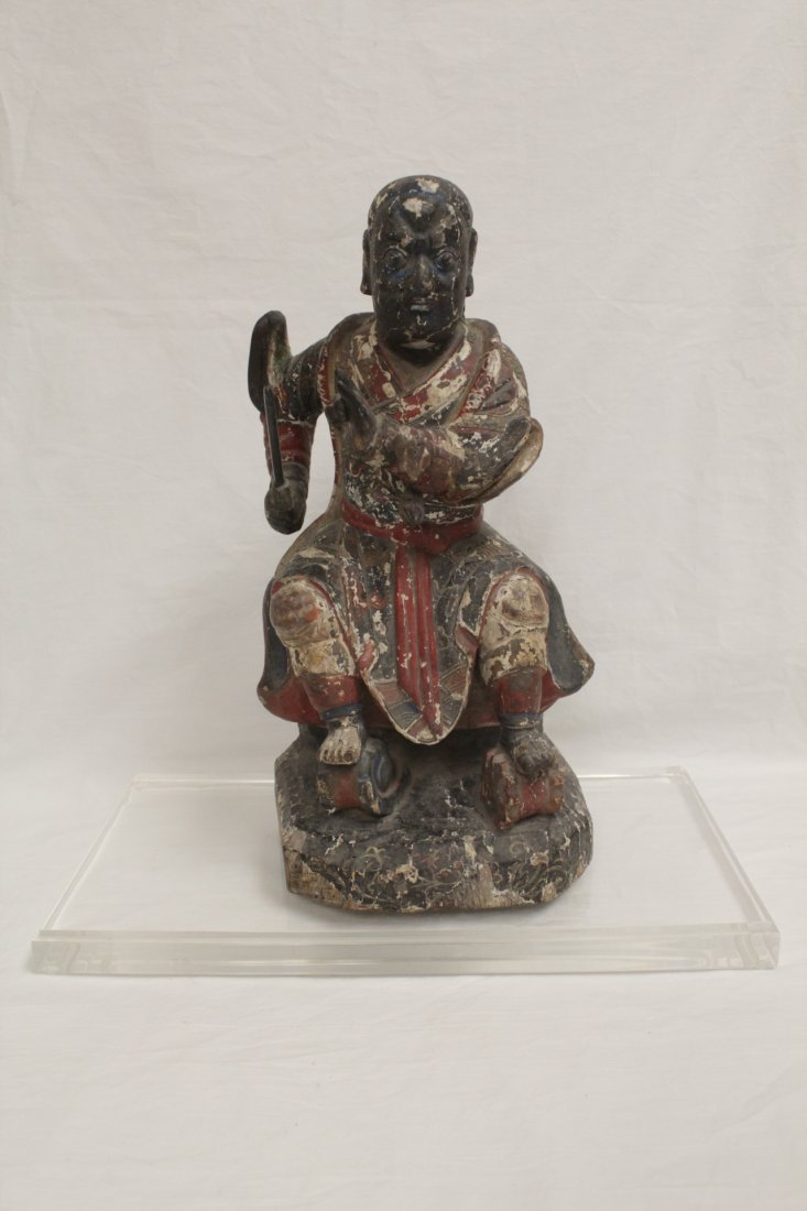 Chinese polychrome wood carving