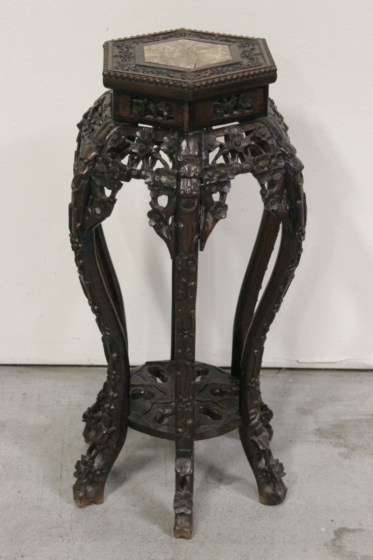 Chinese 19th c. rosewood pedestal table with 6 legs