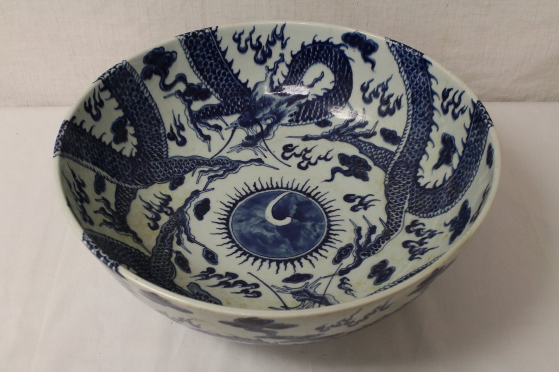 Large Chinese vintage b&w porcelain bowl