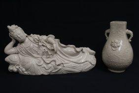 Chinese blanc de shin Guanyin & a porcelain vase