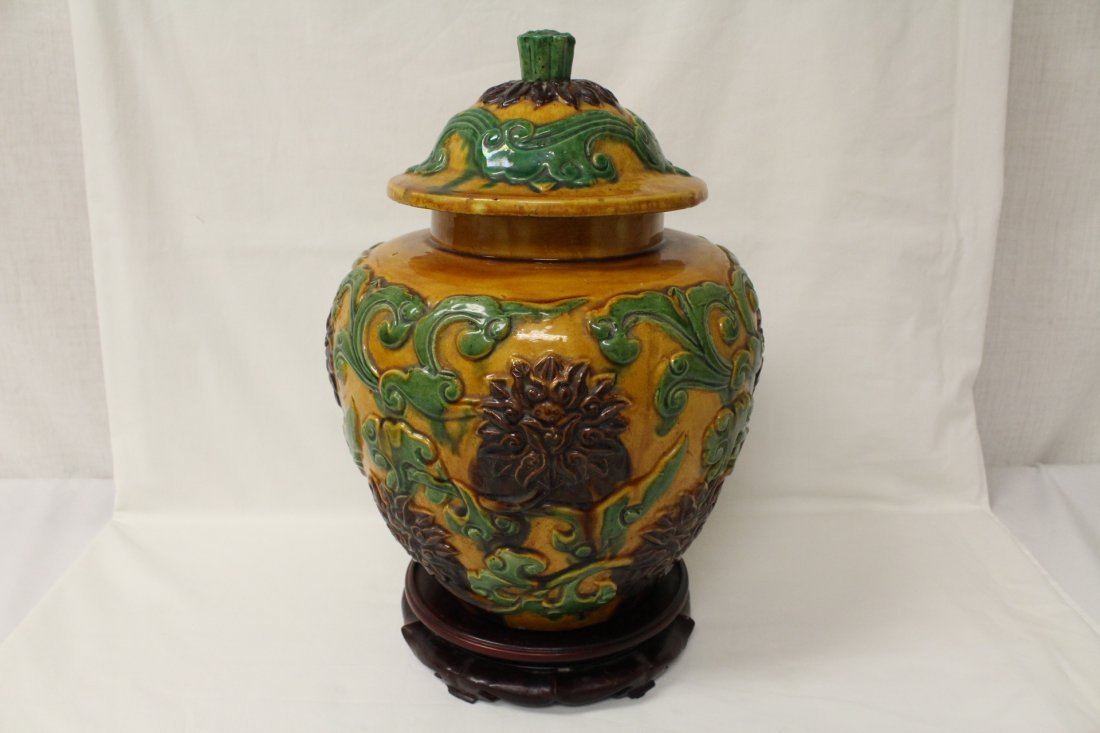 Chinese fahua style porcelain covered jar