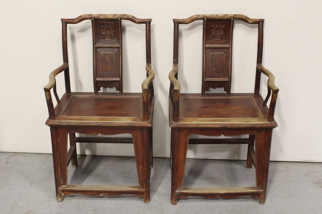Pair Chinese antique rosewood armchairs