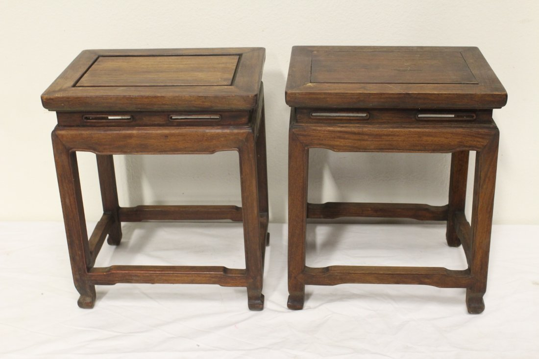 2 Chinese rosewood pedestal tables