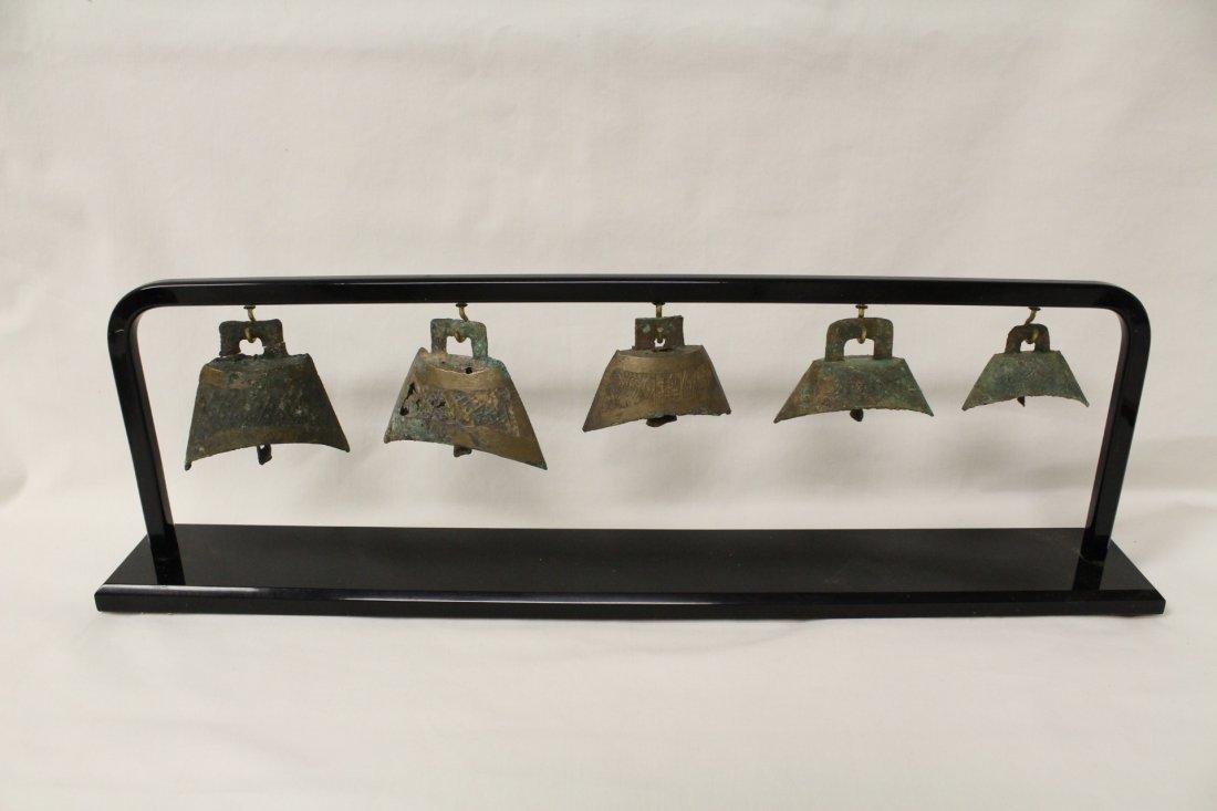 5 miniature archaic bronze style bells