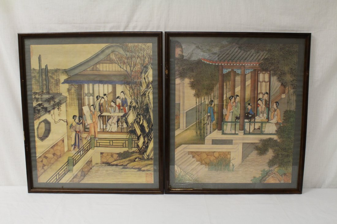 2 rosewood framed prints depicting garden scene