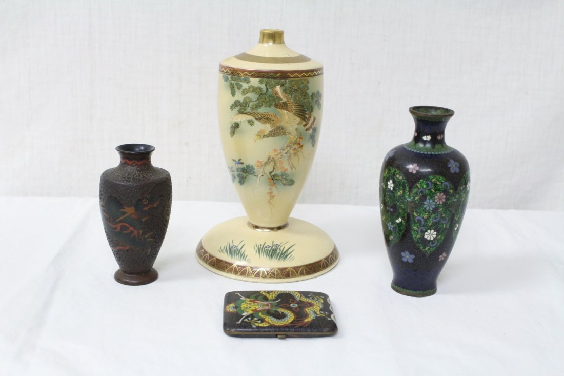 3 cloisonne pc & an early 20th c. satsuma lamp base