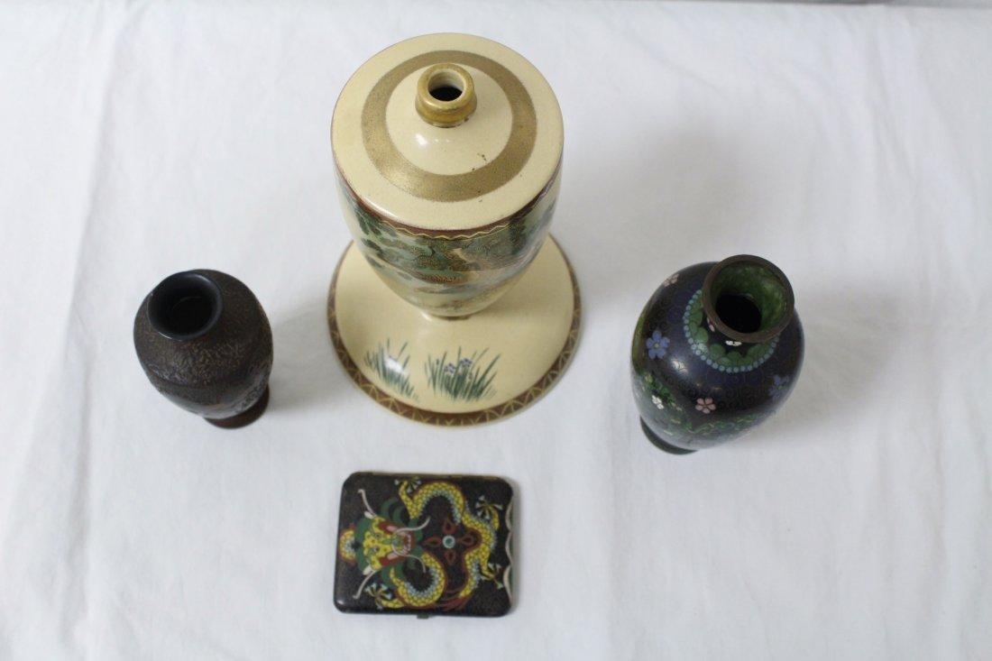 3 cloisonne pc & an early 20th c. satsuma lamp base - 2