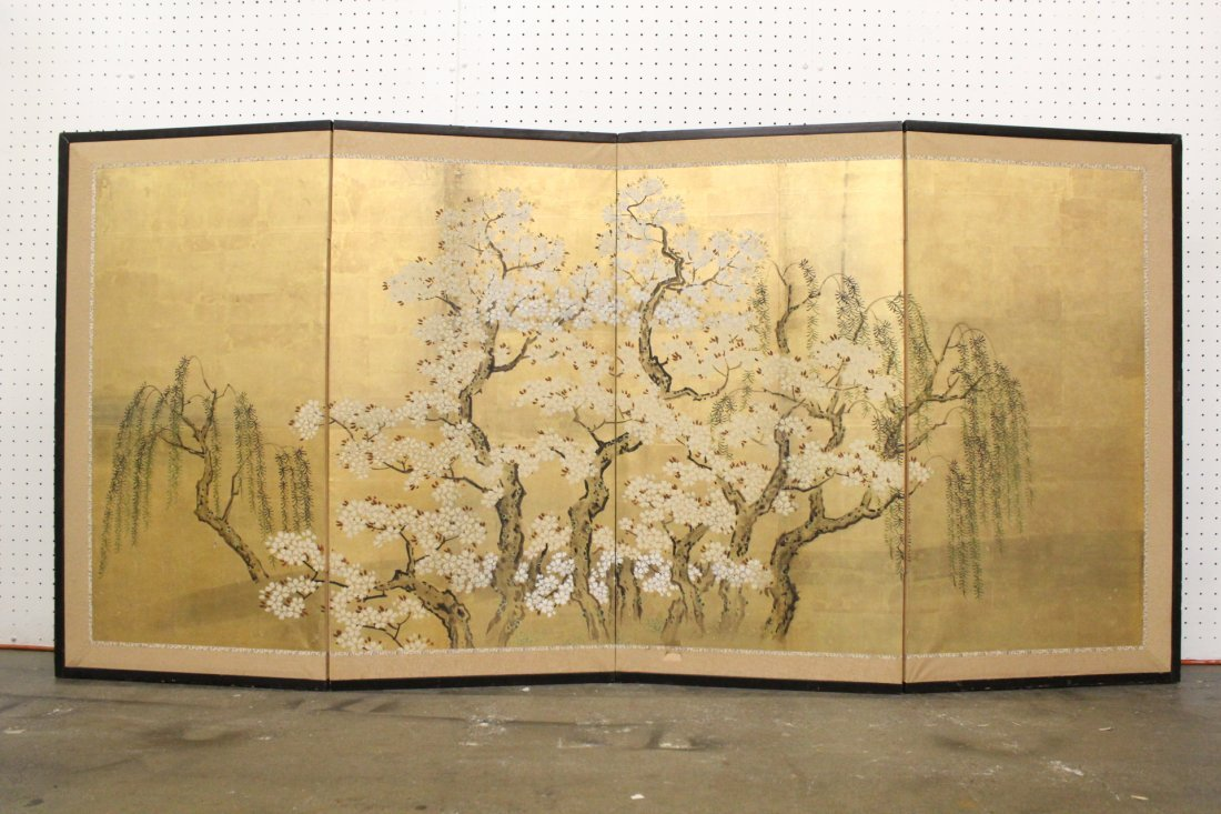 Japanese 19th c. byobu screen with watercolor