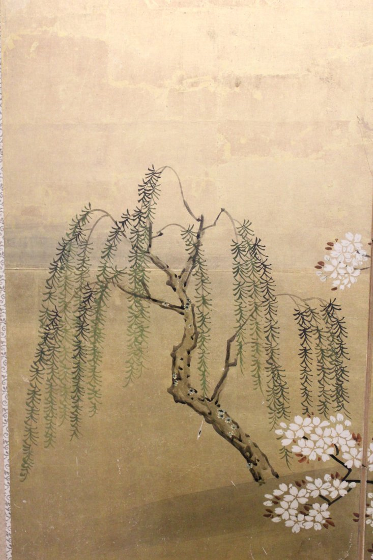 Japanese 19th c. byobu screen with watercolor - 2