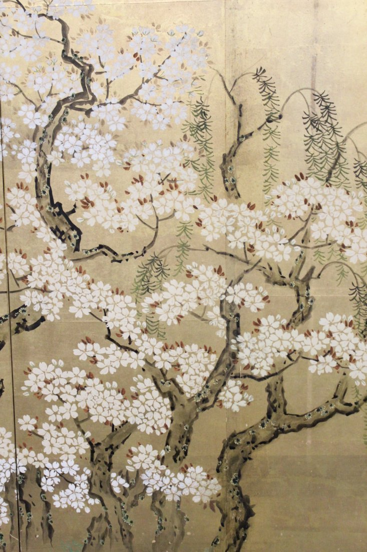 Japanese 19th c. byobu screen with watercolor - 4