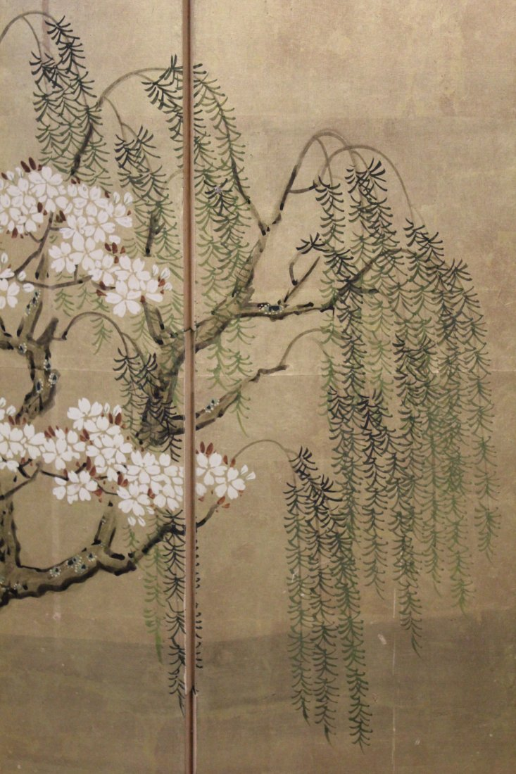 Japanese 19th c. byobu screen with watercolor - 5