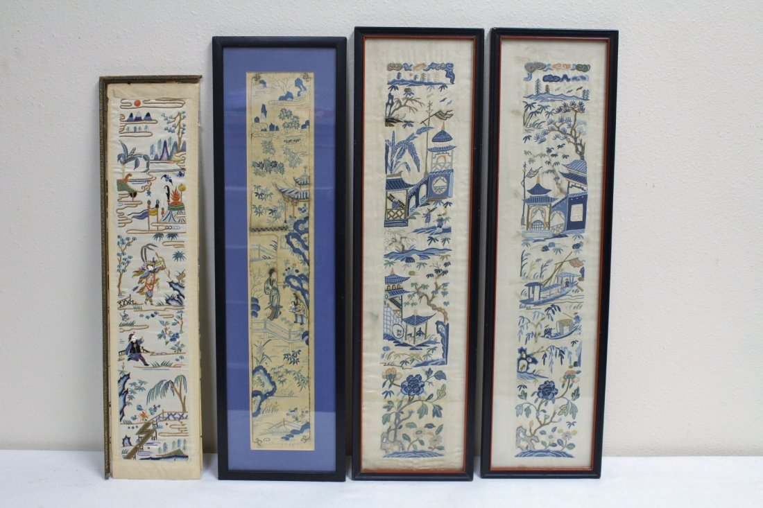 4 Chinese antique embroidery panels