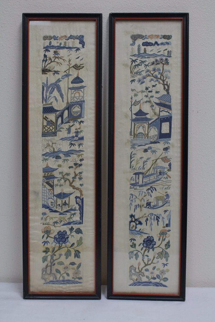 4 Chinese antique embroidery panels - 2