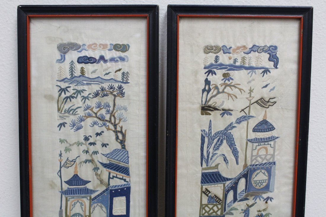 4 Chinese antique embroidery panels - 3