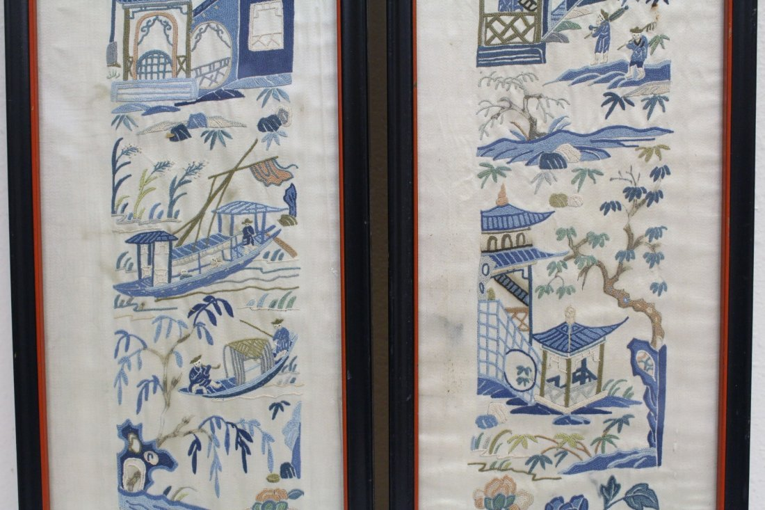 4 Chinese antique embroidery panels - 4