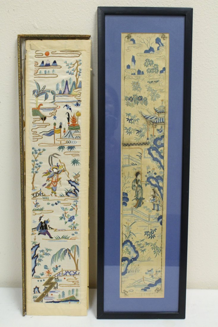 4 Chinese antique embroidery panels - 6