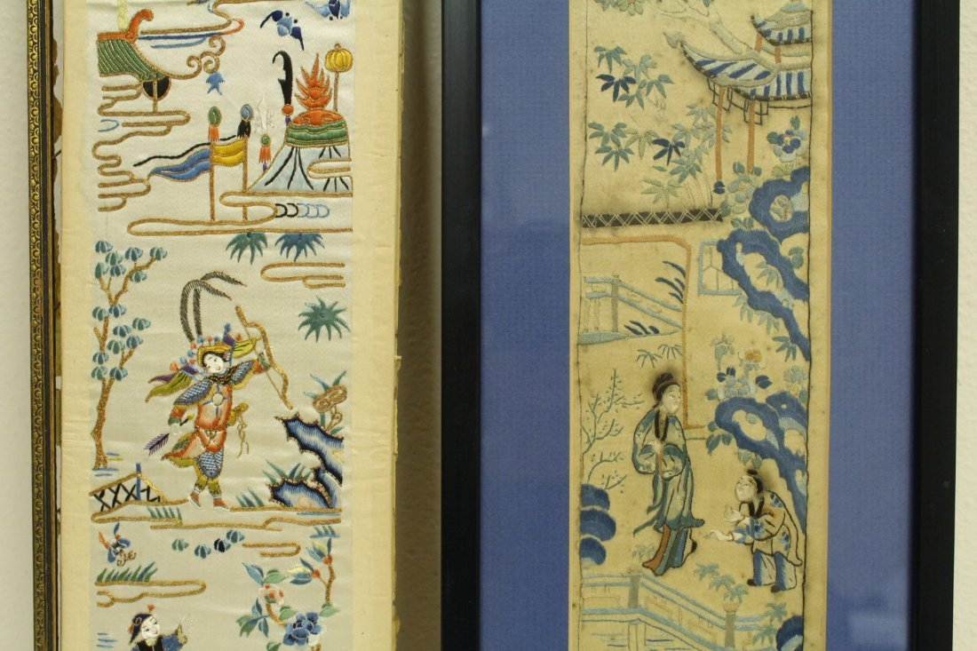 4 Chinese antique embroidery panels - 8