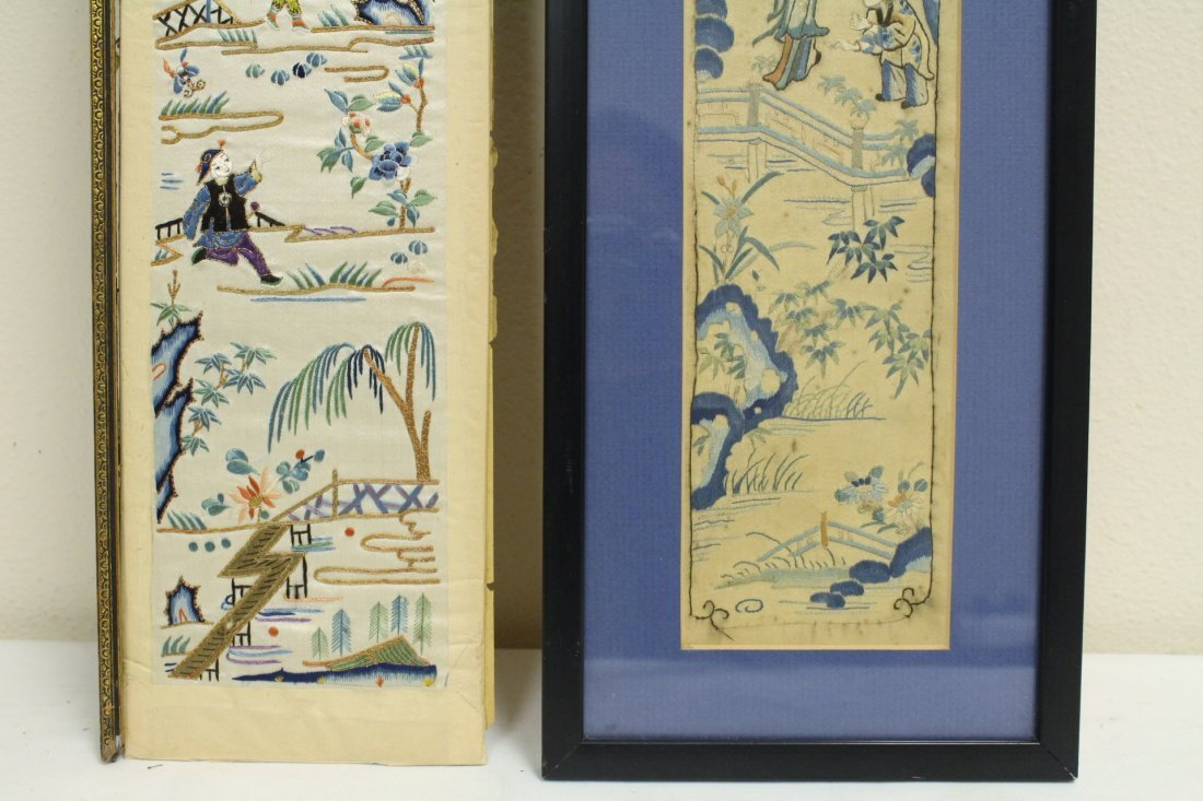 4 Chinese antique embroidery panels - 9
