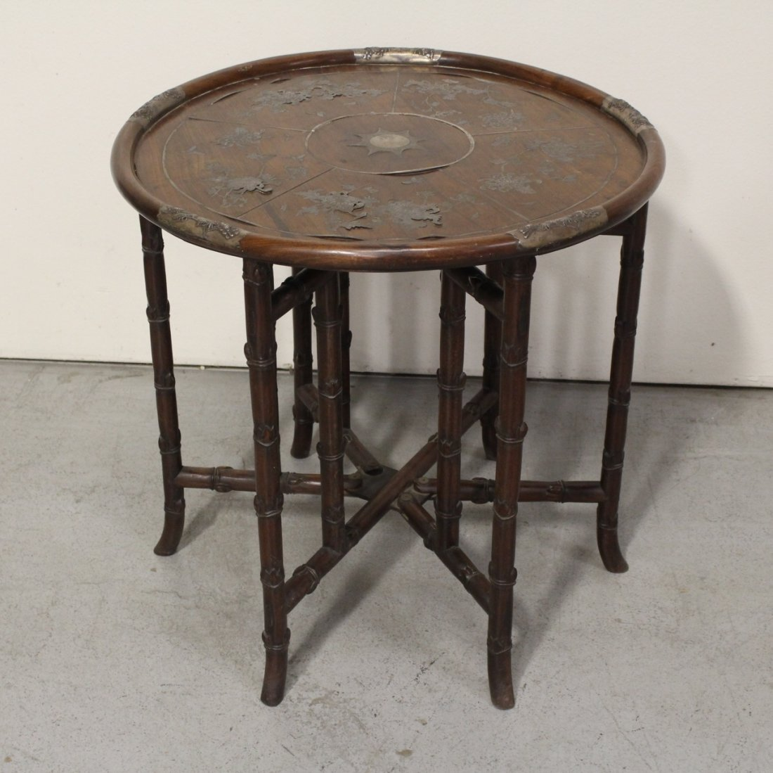 Chinese 19th c. rosewood table decorated w/ silver